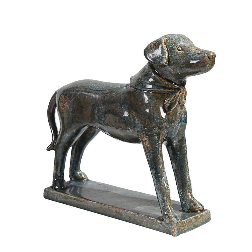 Home Decorators Collection Distressed Blue Standing Dog Statue
