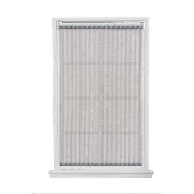 Ivory Gray Cordless Push-up HDPE Exterior Roller Shade - 96 in. W x 66 in. L
