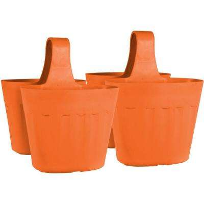 Mela 15 in. Orange Plastic Saddlebag Rail Planter (2-Pack)