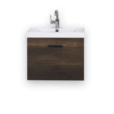 23.6 in. W x 18.2 in. H Bath Vanity in Brown with Resin Vanity Top in White with White Basin