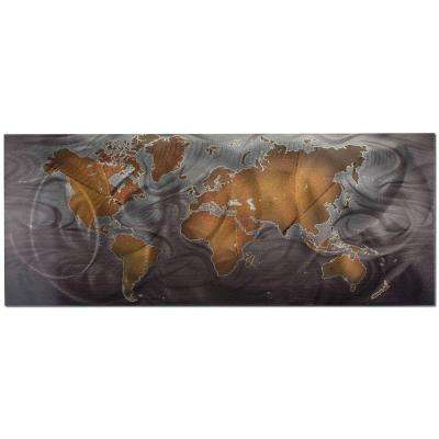Brevium 19 in. x 48 in. Bronze and Pewter, Land and Sea Metal Wall Art