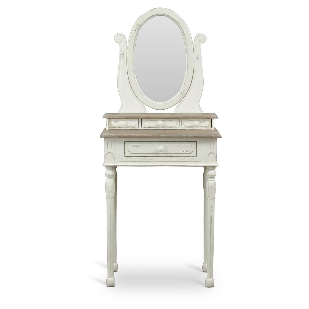 Baxton Studio Alys White And Light Brown French Vanity