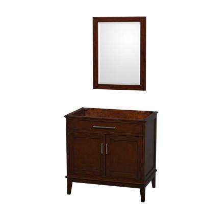 Hatton 35 in. Vanity Cabinet with Mirror in Dark Chestnut