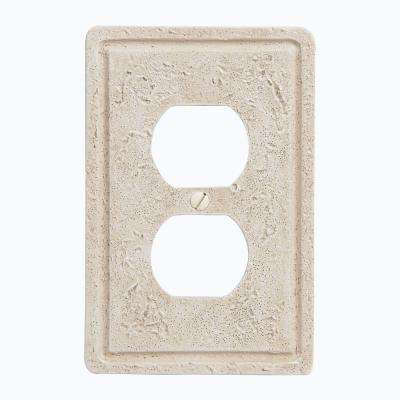 Faux Stone 1 Duplex Wall Plate - Toasted Almond