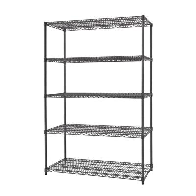 Black Anthracite 5-Tier Steel Wire Shelving Unit (48 in. W x 72 in. H x 18 in. D)
