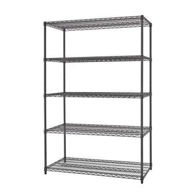 48 in. x 72 in. x 18 in. Black Anthracite Indoor/Outdoor 5-Tier Shelving Unit