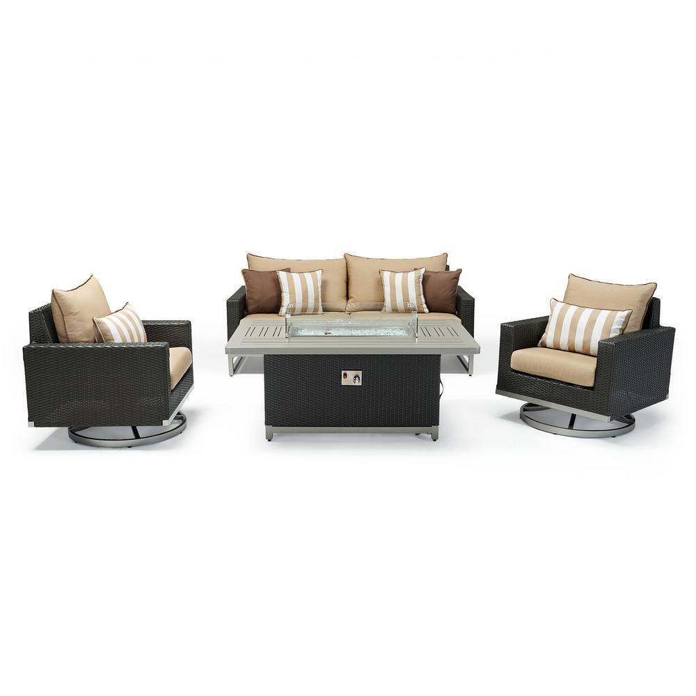 Milo Espresso 4-Piece Wicker Patio Motion Fire Pit Deep Seating Set with Maxim Beige Cushions