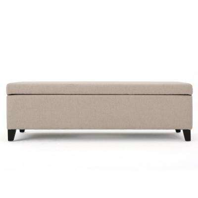 York Wheat Beige Fabric Storage Bench