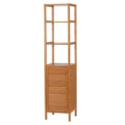 EcoStyles Louvered Bamboo Slimline Tower/Cabinet