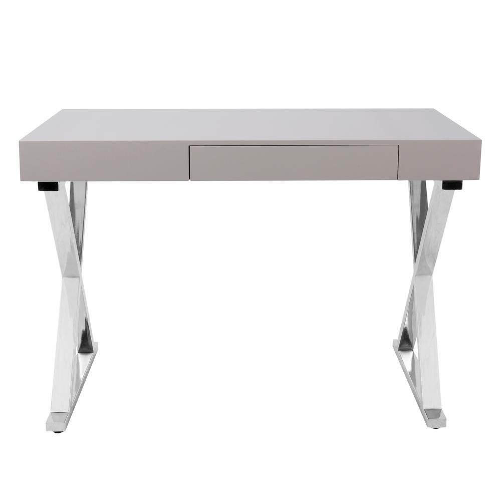 chrome office desk. Lumisource Luster Grey And Chrome Office Desk E