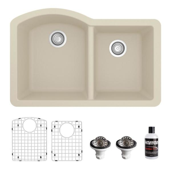QU-610 Quartz/Granite Composite 32 in. Double Bowl 60/40 Undermount Kitchen Sink with Grids & Basket Strainers in Bisque