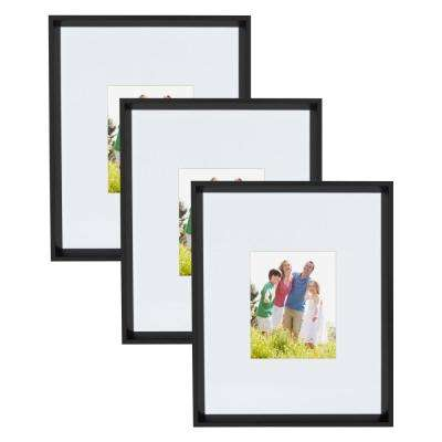 Calter 16 in. x 20 in. Matted to 8 in. x 10 in. Black Picture Frame (Set of 3)