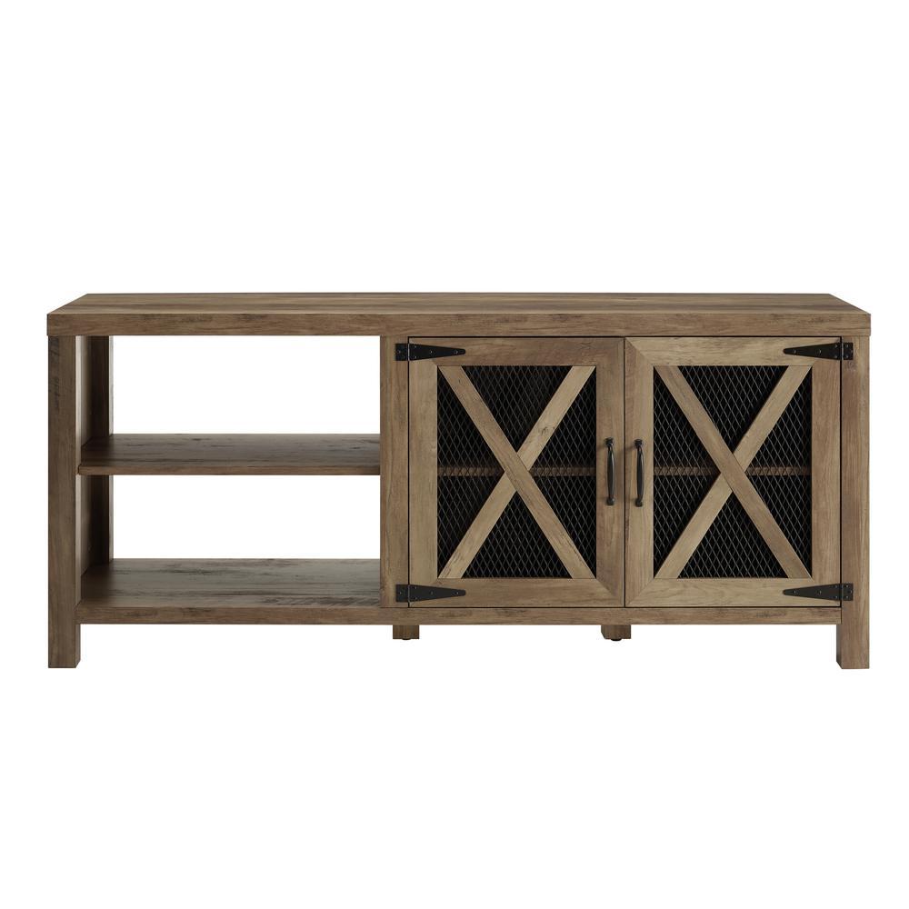 Walker Edison Furniture Company 58 in. Rustic Oak Industrial Farmhouse TV