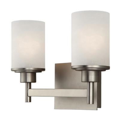 Lyndi 2-Light Brushed Nickel Bath Light