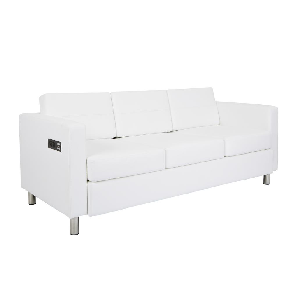 OSP Home Furnishings Atlantic 72.5 in. White Faux Leather 3-Seater Lawson Sofa with Removable Cushions OSP Home Furnishings Atlantic 72.5 in. White Faux Leather 3-Seater Lawson Sofa with Removable Cushions.