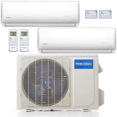 Olympus 18,000 BTU 1.5 Ton 2-Zone Ductless Mini Split Air Conditioner and Heat Pump, 25 ft. Install Kit - 230V/60Hz