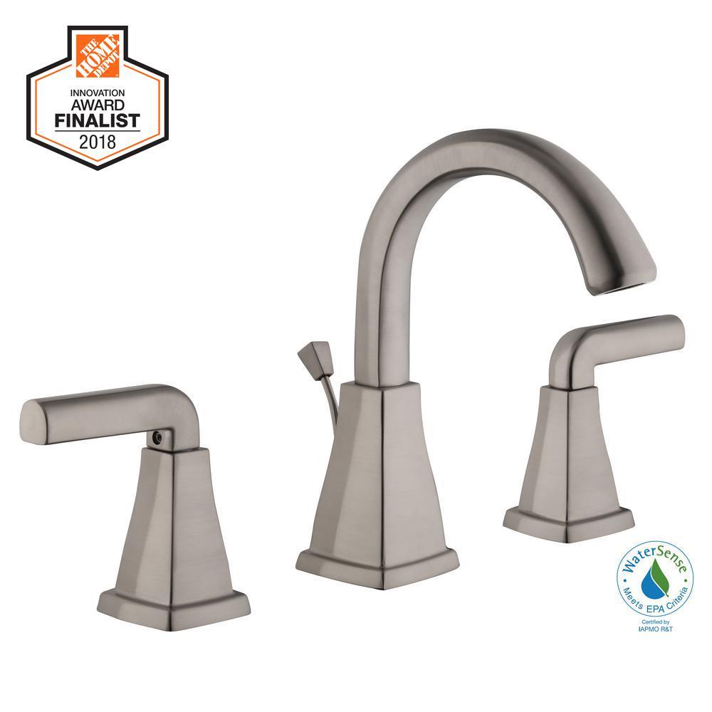 Brookglen 8 in. Widespread 2-Handle High-Arc Bathroom Faucet in Brushed Nickel