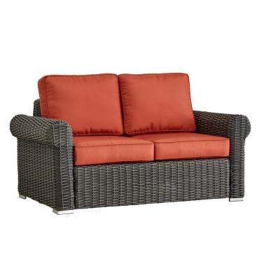 Camari Charcoal Rolled Arm Wicker Outdoor Loveseat with Red Cushion