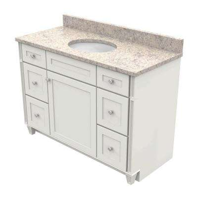 48 in. Vanity in Dove White with Natural Quartz Vanity Top in Shadow Swirl and White Basin