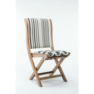 Misty Black and White Pattern #2 Wood Folding Chair with Cushion