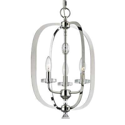 Orleans 3-Light Polished Nickel with Crystal Bobeche Pendant
