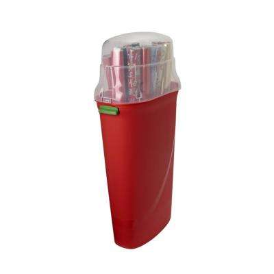 30 in. Clear/Red Holiday Wrapping Paper Storage Box (2-Pack)