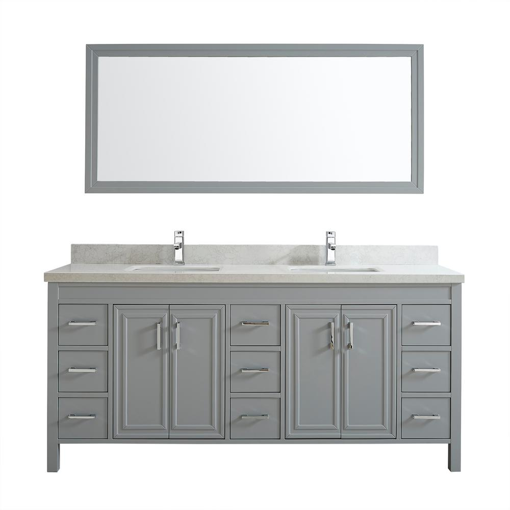 Studio Bathe Dawlish 75 in. W x 22 in. D Vanity in Oxford Gray with Engineered Vanity Top in White with White Basin and Mirror