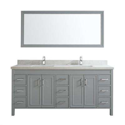 Dawlish 75 in. W x 22 in. D Vanity in Oxford Gray with Engineered Vanity Top in White with White Basin and Mirror