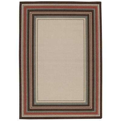 Border Ivory and Brown 5 ft. x 7 ft. Indoor/Outdoor Area Rug