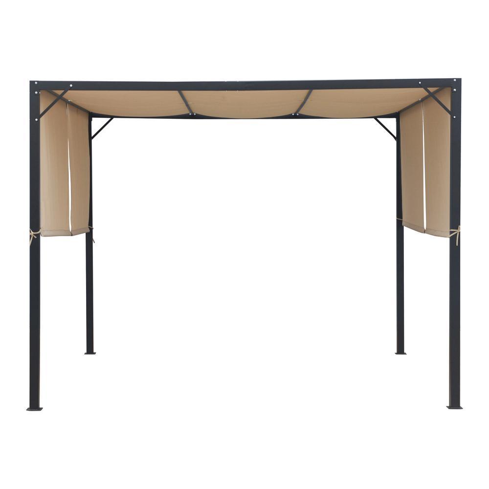 Westray 10 ft. x 10 ft. Black Steel-Framed Canopy Gazebo with Beige Fabric Shade