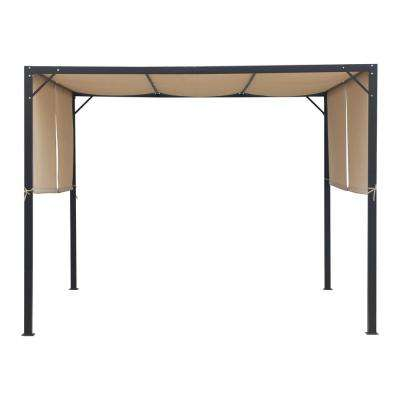 Westray 10 ft. x 10 ft. Black Steel-Framed Canopy Gazebo with Beige Fabric Shade