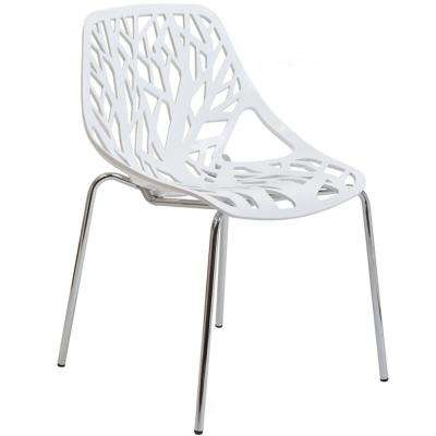 White Stencil Dining Side Chair