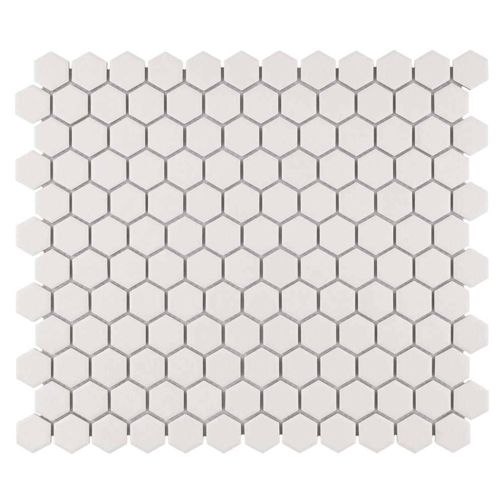 Merola Tile Gotham Hex Antique White 10-1/4 in. x 11-3/4 in. x 5 mm Porcelain Unglazed Mosaic Tile (8.56 sq. ft. / case)