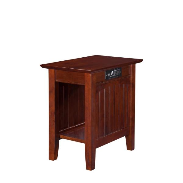 Atlantic Furniture Nantucket Walnut Chair Side Table with Charging Station