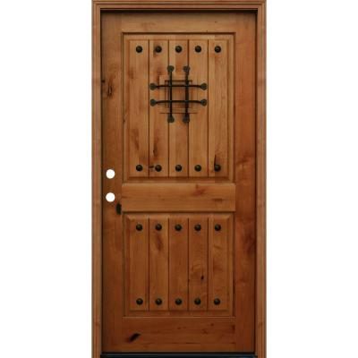 Pacific Entries 36 in. x 80 in. Rustic Arched 2-Panel V ...