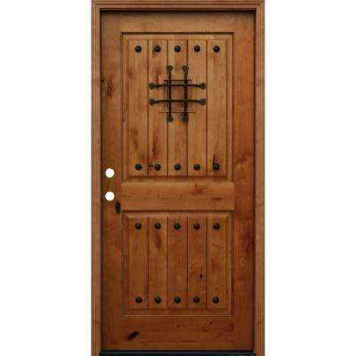 Rustic 2 Panel Square Top V Grooved Stained Knotty Alder Wood Prehung Front  Door Exterior Doors The Home Depot
