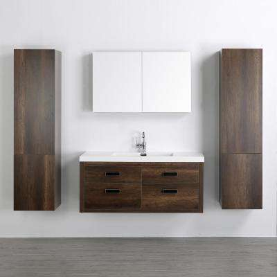 47.2 in. W x 19.5 in. H Bath Vanity in Brown with Resin Vanity Top in White with White Basin and Mirror