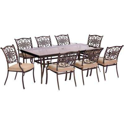 Traditions 9-Piece Aluminum Outdoor Dining Set with Rectangular Glass-Top Table with Natural Oat Cushions
