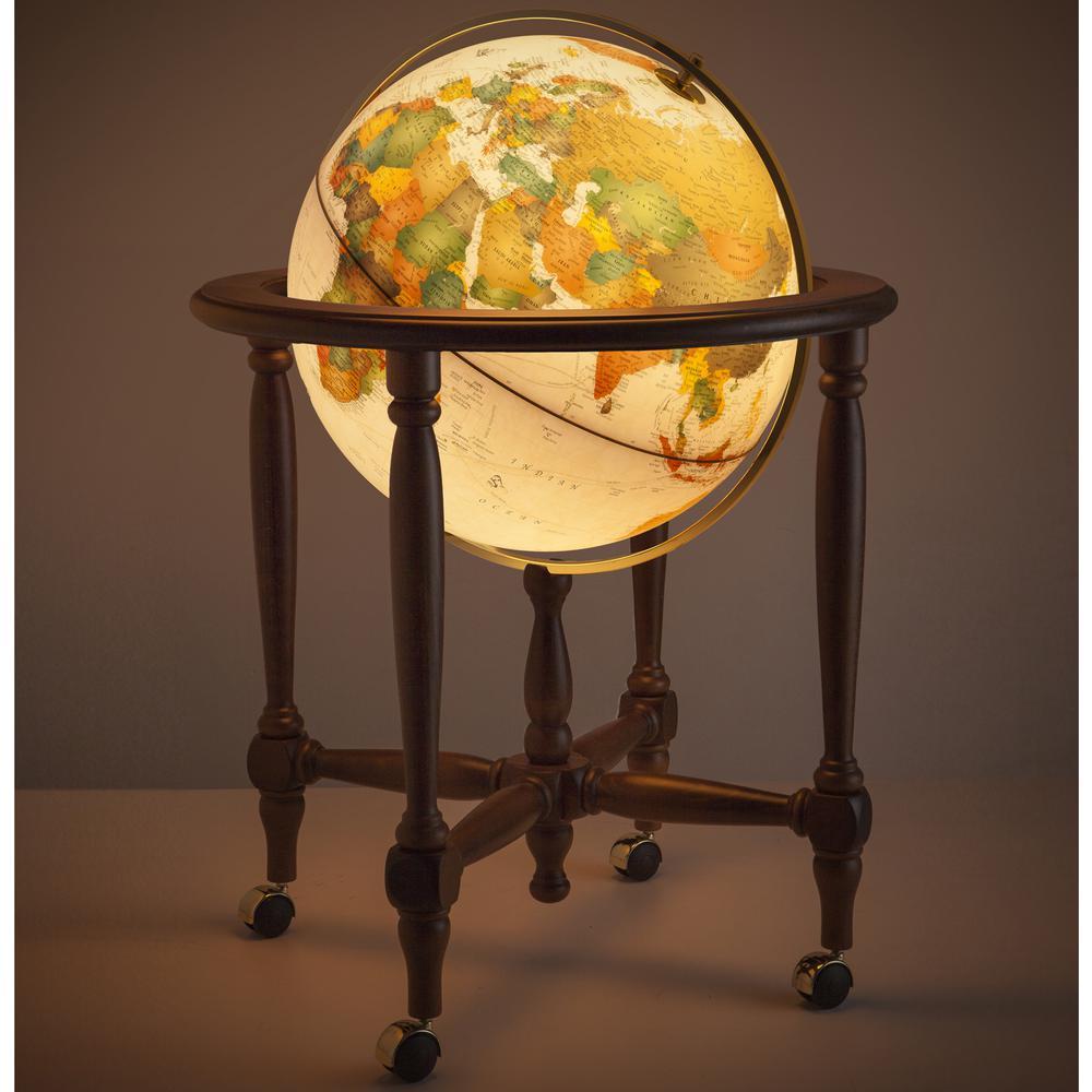 San Marino 20 in. Physical Landmasses & Blue Oceans Illuminated Floor Standing Globe