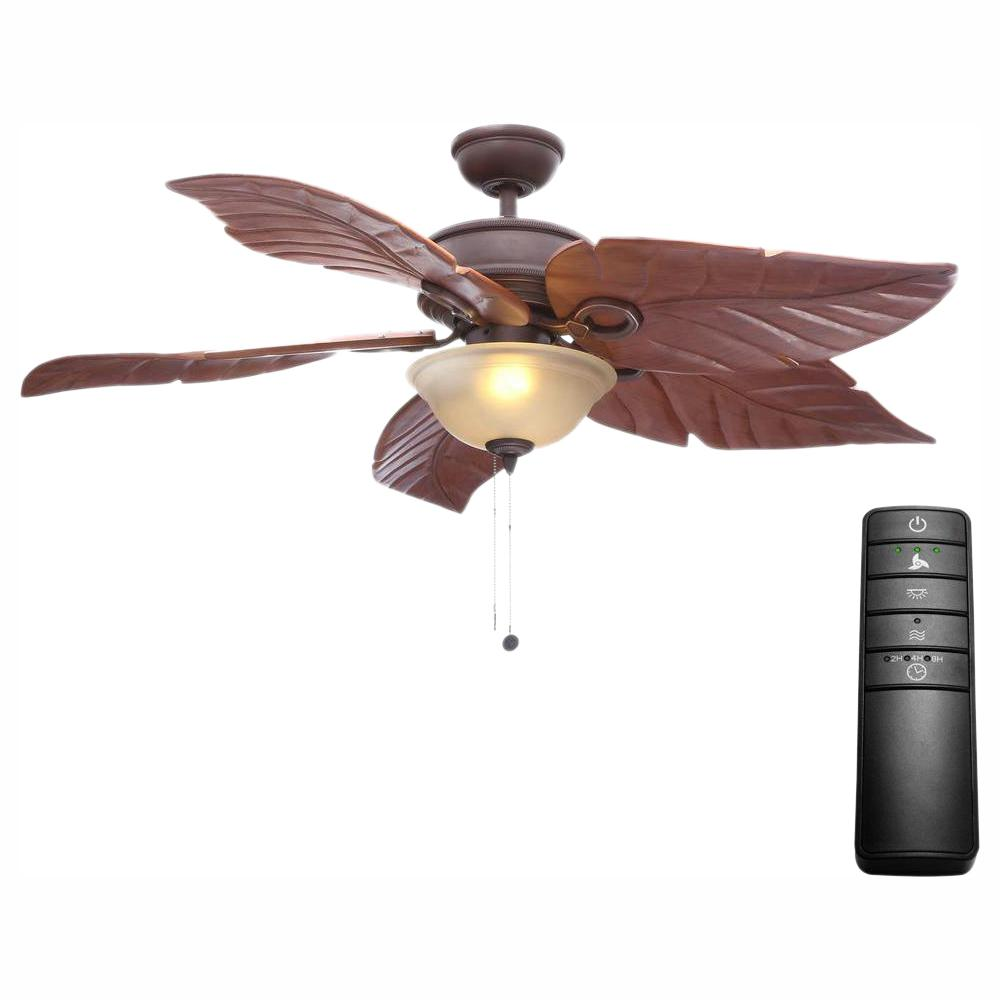 Hampton Bay Costa Mesa 56 in. LED Mediterranean Bronze Ceiling Fan with Light Kit and Remote Control