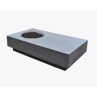 Metropolis 56 in. x 32 in. x 14 in. Rectangle Concrete Propane Fire Pit Table in Light Gray