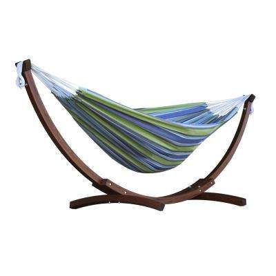 double cotton hammock in oasis with solid pine arc stand wood   stand included   the home depot  rh   homedepot