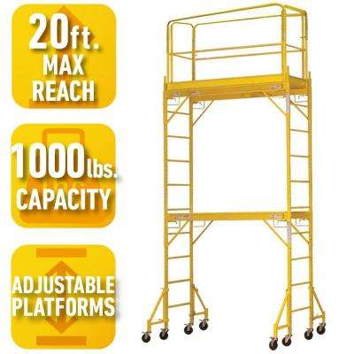 12 ft. 2-Story Rolling Scaffold Tower with 1000 lb. Load Capacity