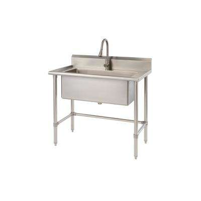 41.7 in. x 24 in. x 49.2 in. Stainless Steel Utility Sink with Pull out Faucet