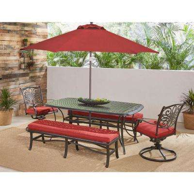 Traditions 5-Piece Aluminum Outdoor Patio Dining Set with Red Cushions