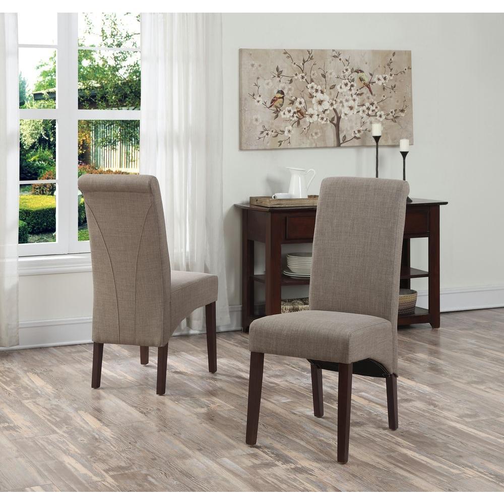 Simpli Home Avalon Light Mocha Polyester Parsons Dining Chair (Set Of 2)