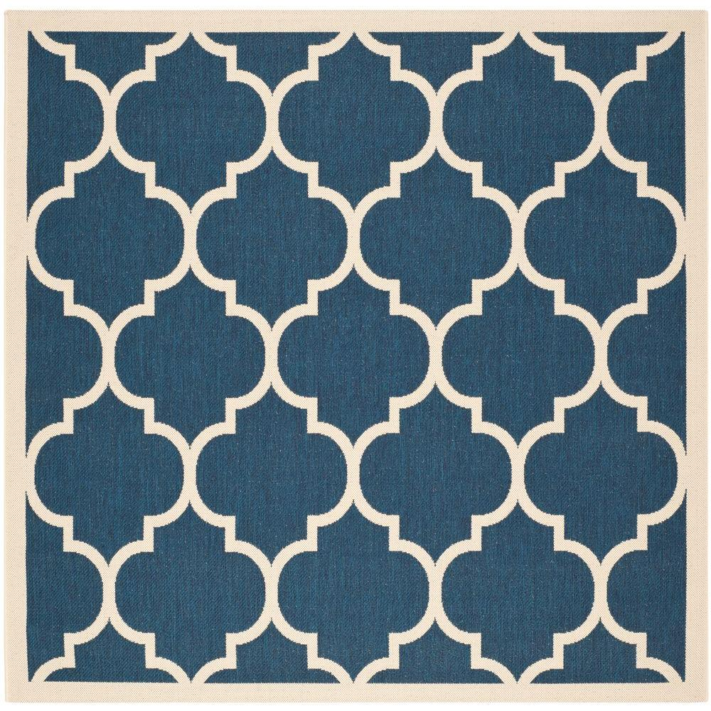 Indoor Outdoor Rugs Square: Safavieh Courtyard Navy/Beige 4 Ft. X 4 Ft. Indoor/Outdoor