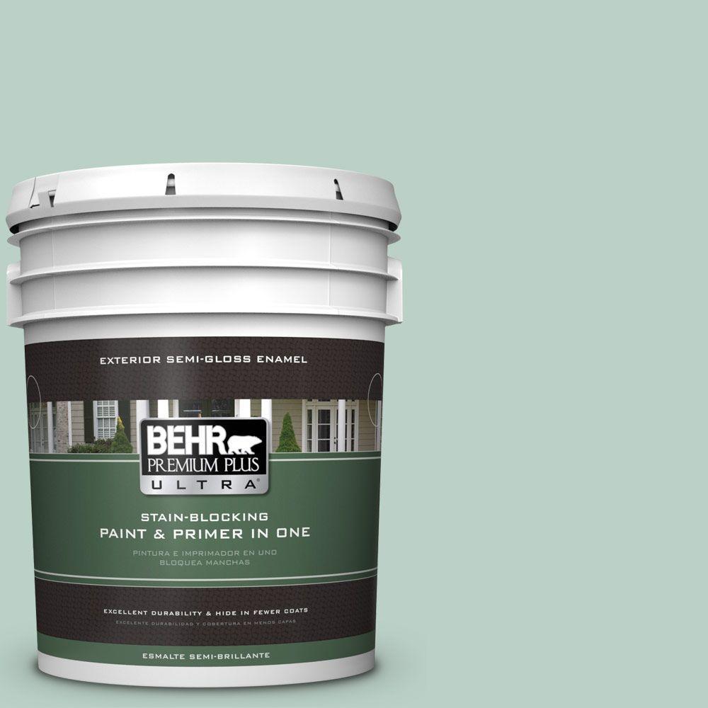 BEHR Premium Plus Ultra 5-gal. #S420-2 Moon Glass Semi-Gloss Enamel Exterior Paint