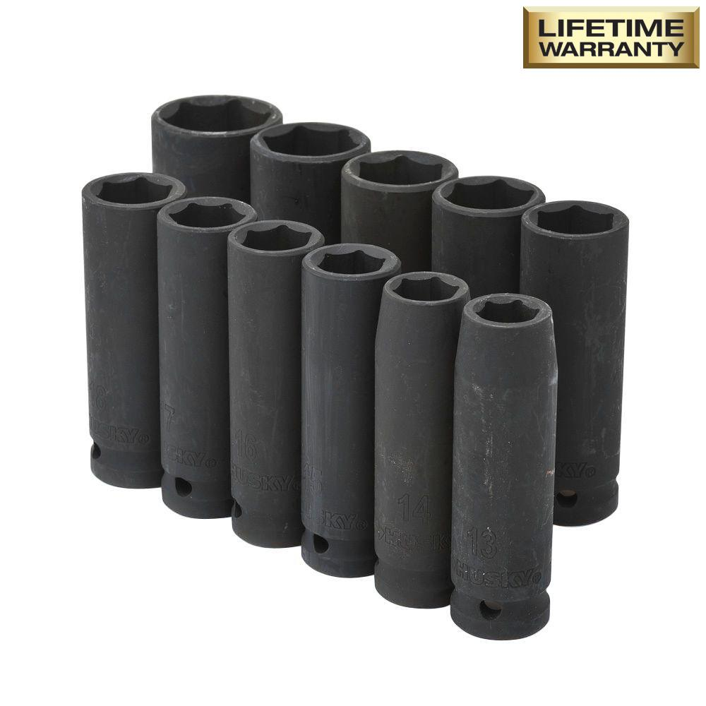 1/2 in. Drive Deep Metric Impact Socket Set (11-Piece)