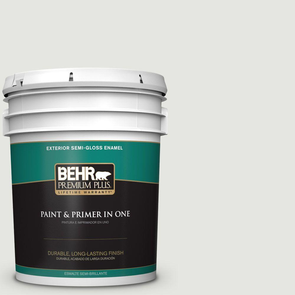 BEHR Premium Plus 5-gal. #BXC-89 Maritime White Semi-Gloss Enamel Exterior Paint